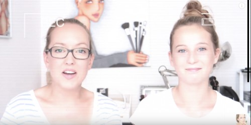 Séverine Jenny et sa jeune co-YouTubeuse d'un jour, Chloé. Vidéo Back to school 2015 - fournitures scolaires, capture d'écran.